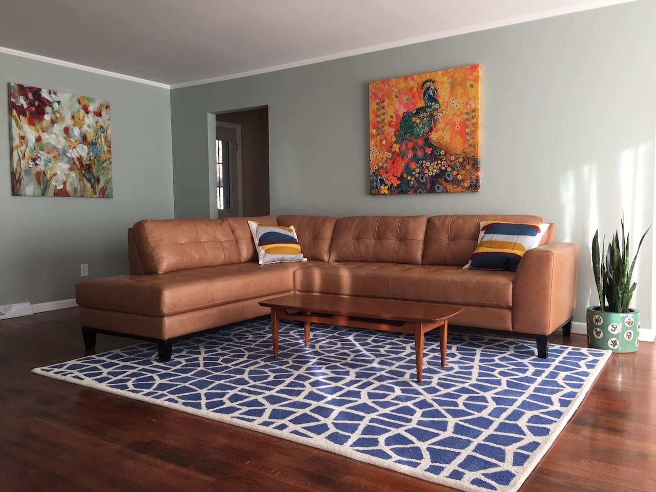 Living room facing a flat screen smart TV.