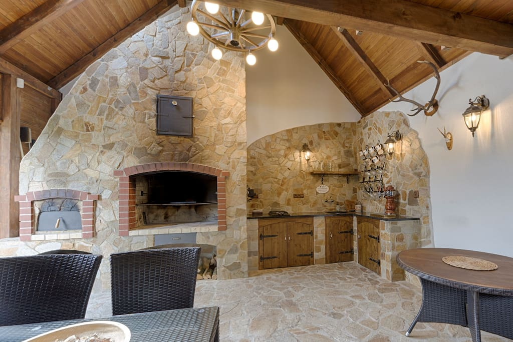 Barn with indoor grill