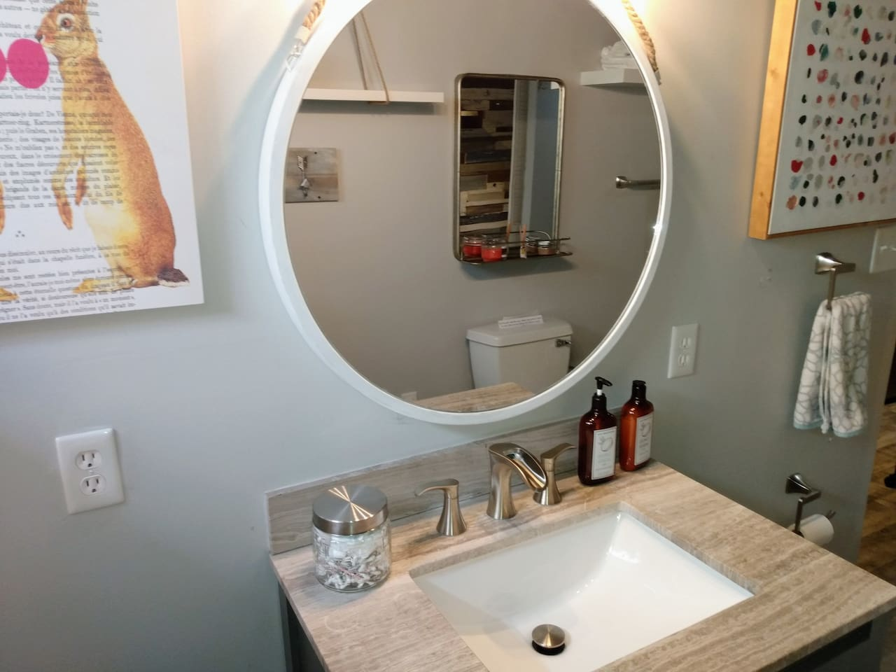 large mirror, qtips, cotton balls, hand soap and lotion...
