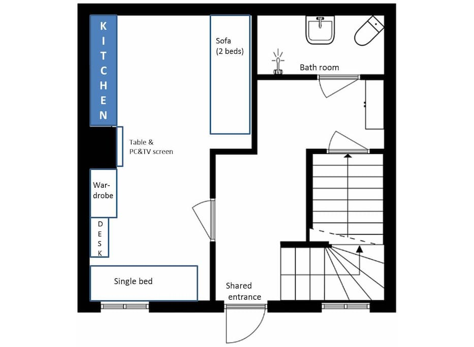 Shared entrance with the owners, private bathroom  and room with kitchenette