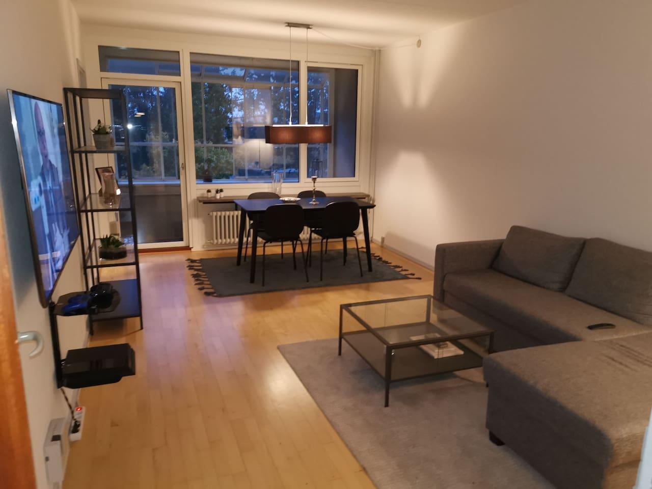 Den grå sofa er en sovesofa
