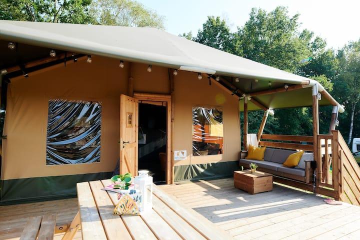 Luxe safari tent op Camping Rijsterbos