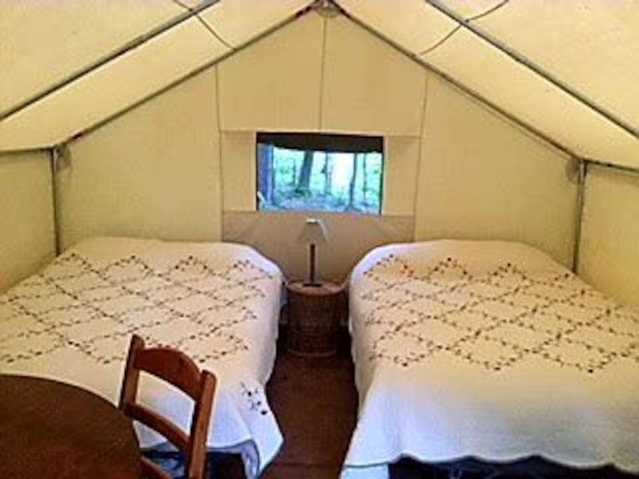 inside the tent / two queen beds. table & chairs. electric lamp