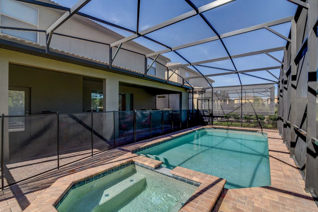 Take a dip in the private pool or soak your muscles in the hot tub.