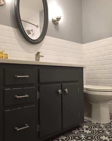 Hallway bathroom gorgeous tile.