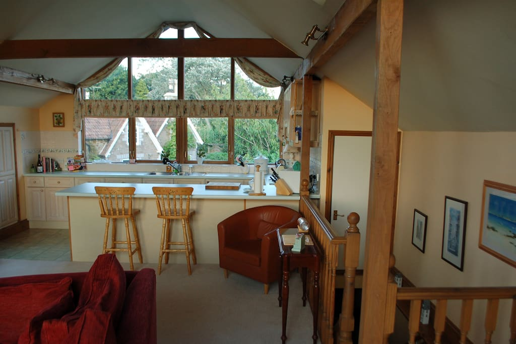 Spacious upstairs living area with beautiful country views all round