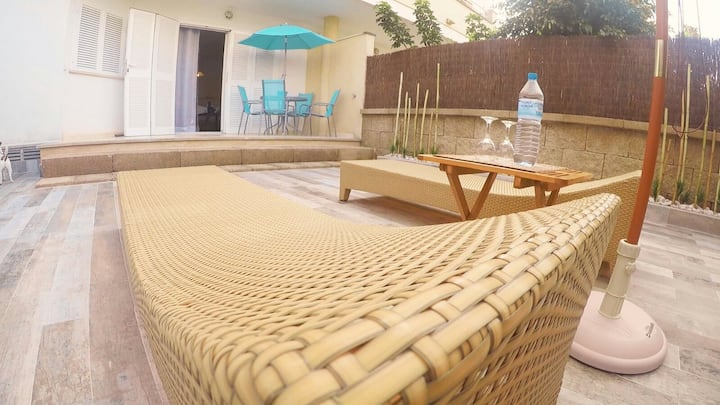 Ground floor 180m from the beach 4 beds