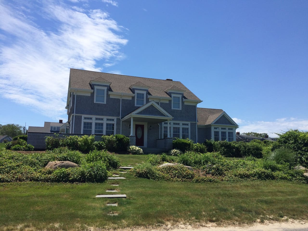 Front of the house faces Cape Cod Bay