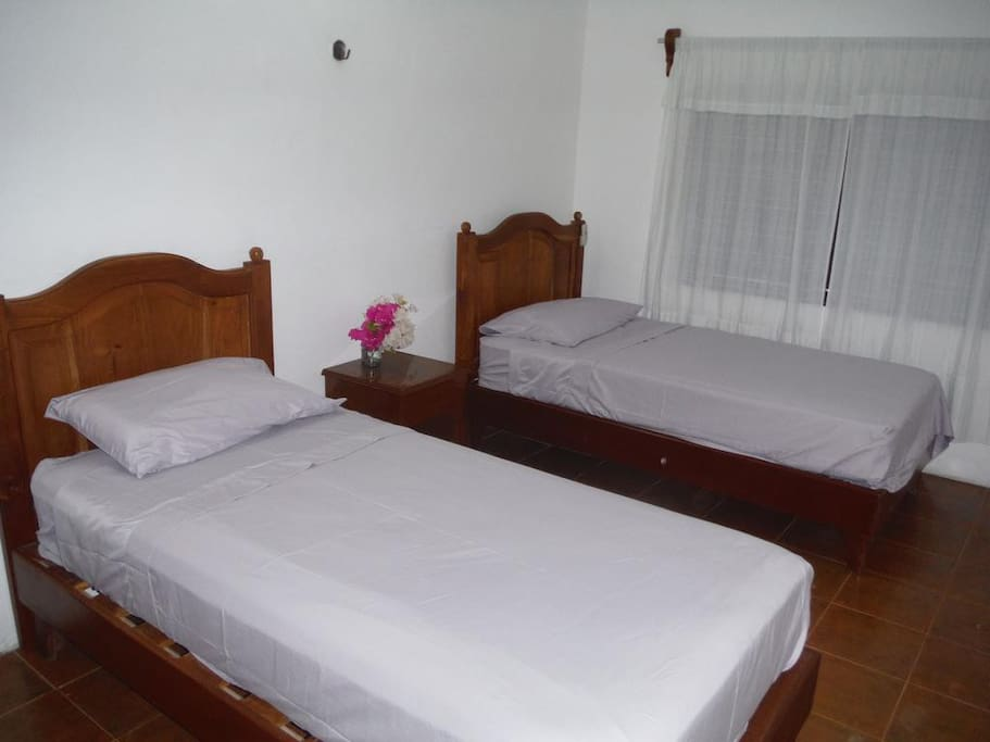 Back Room with 2 Single Beds, can also be placed together as a King Size Bed