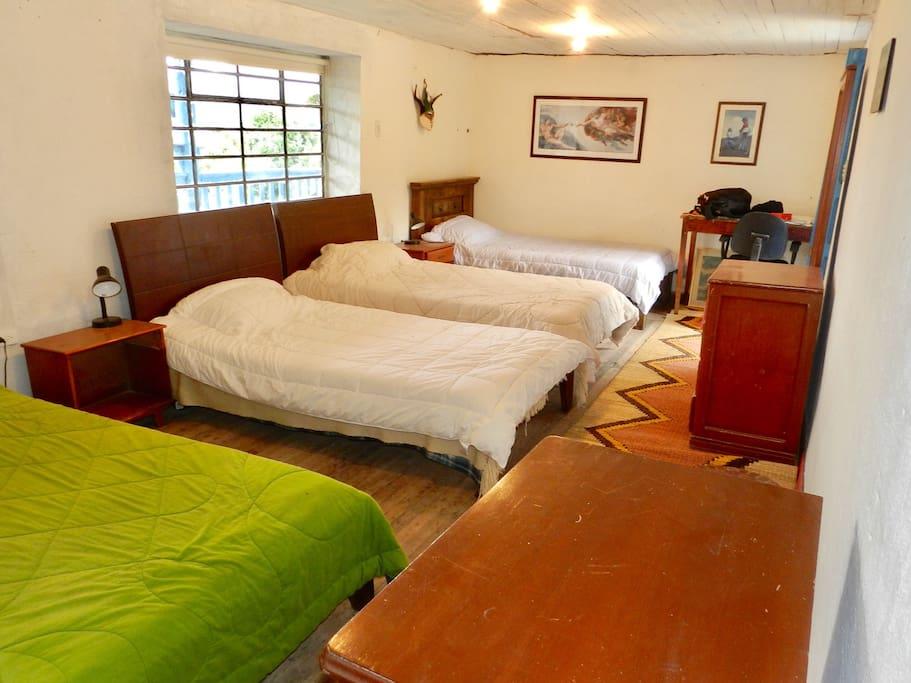 Habitación con 4 camas sencillas con baño privado. Ideal para hospedar grupos, cuenta con ducha, baño, lavamanos, vestidor con espejo, mesas de noche y hermosa vista hacia las montañas.