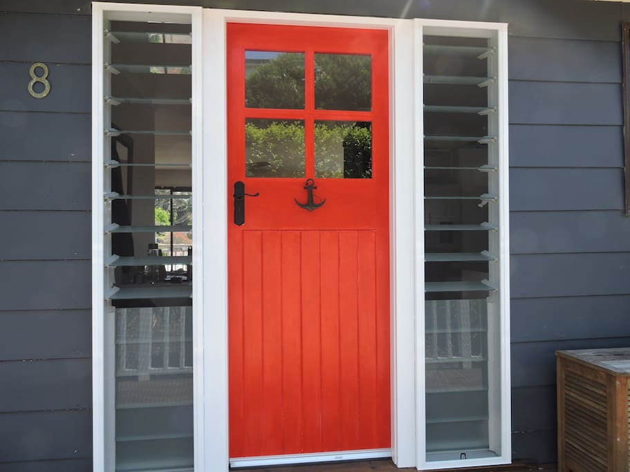 Gorgeous reclaimed door and louvers allowing the southerly ocean breeze.