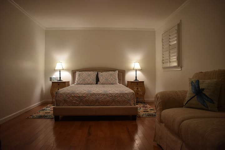 Room #3 - Stone Mountain. Upstairs bedroom (14-steps) with comfortable queen-sized bed. Great view.