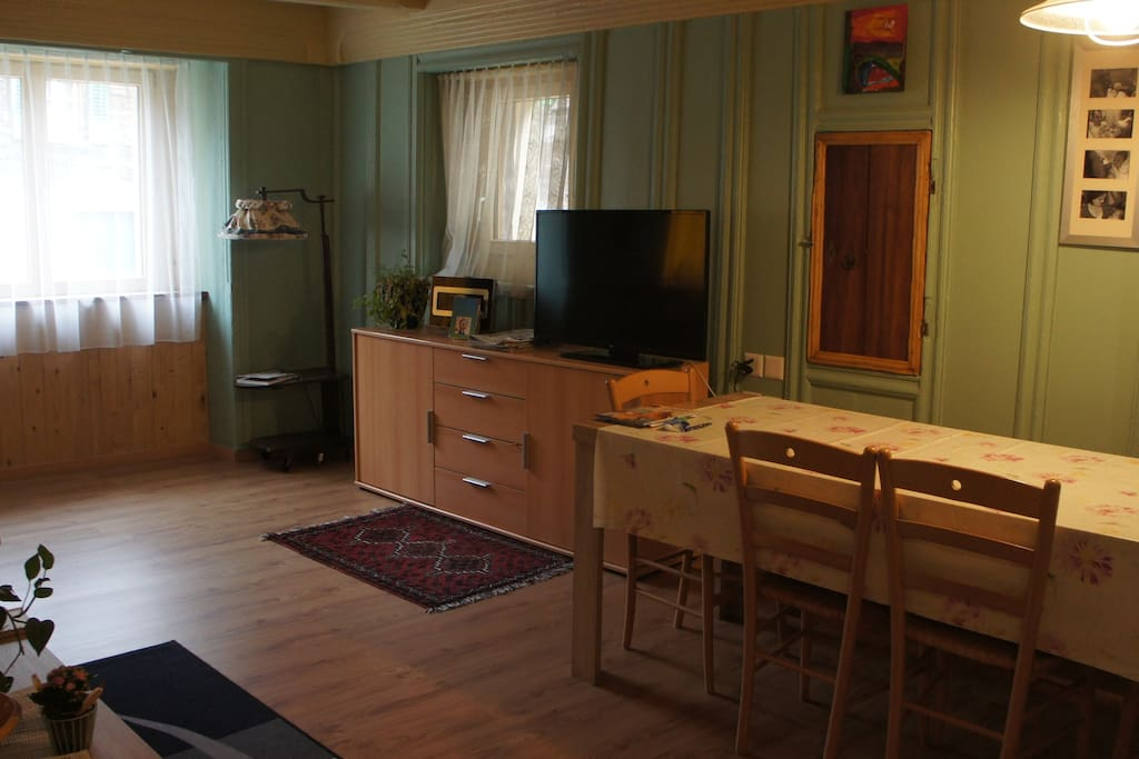 Grosser Wohnbereich unterer Stock mit Esszimmer und Wohnbereich.