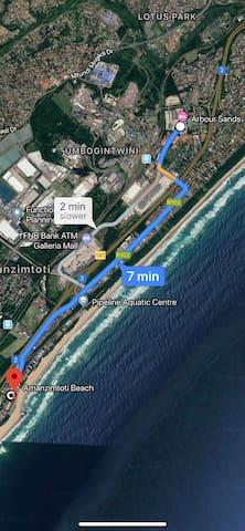 Beach  4.7 km (7 min drive)