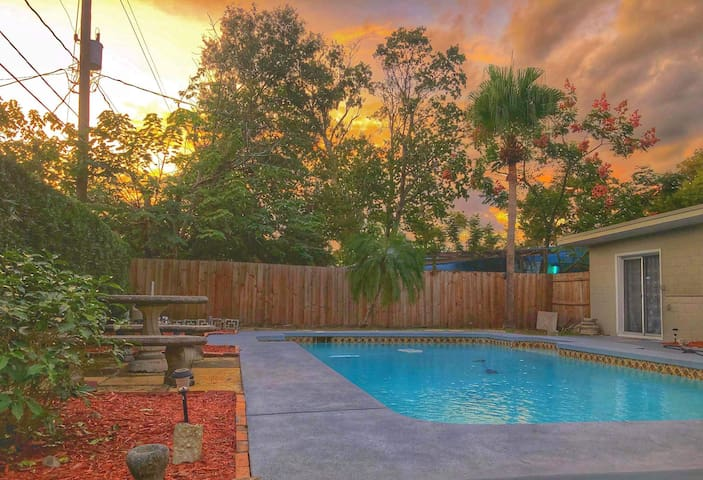 Private pool home close to parks/downtown/airport!