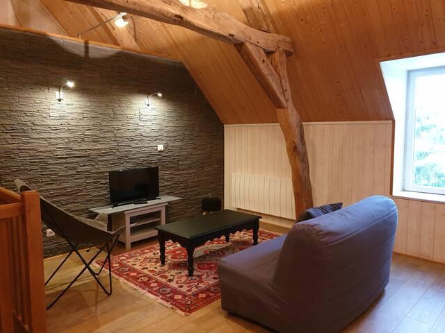 Salon de l'étage avec canapé bz, tv et console wii