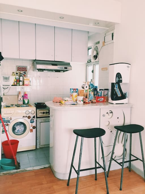 Open Kitchen with Bar Stool and Table