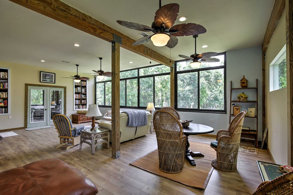 Rustic meets modern in this lovely home, offering plenty of space to lounge around.