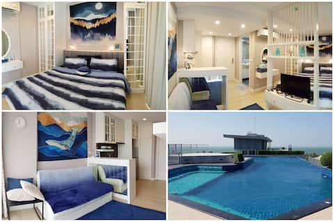 Luksuzni studio i krovni bazen s pogledom na more