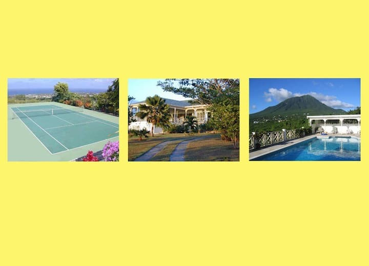 Hill Rise House with staff, pool and tennis court.