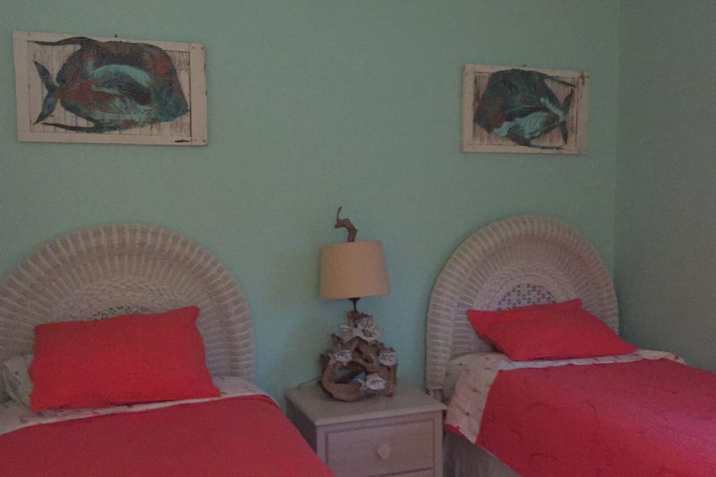 Brand new, comfy twin beds add to this bright and cheery room