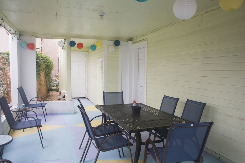 Another view of the patio. The back door leads to your laundry room, the door on the right to the downstairs living space.