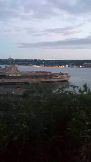 View from the deck of the aircraft carrier and Sinclair inlet