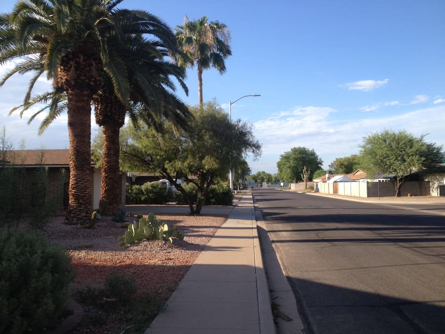 Take a stroll in our peaceful, quiet, safe, clean, and friendly neighborhood without having to worry about drive-by shooting, crazy drivers, alcohol, drugs, or mean, disrespectful people.  Our neighbors are young adult families with kids and a senior couple across the street. Here you will often see people walking their dogs, kids riding their bikes, or families strolling in the neighborhood.