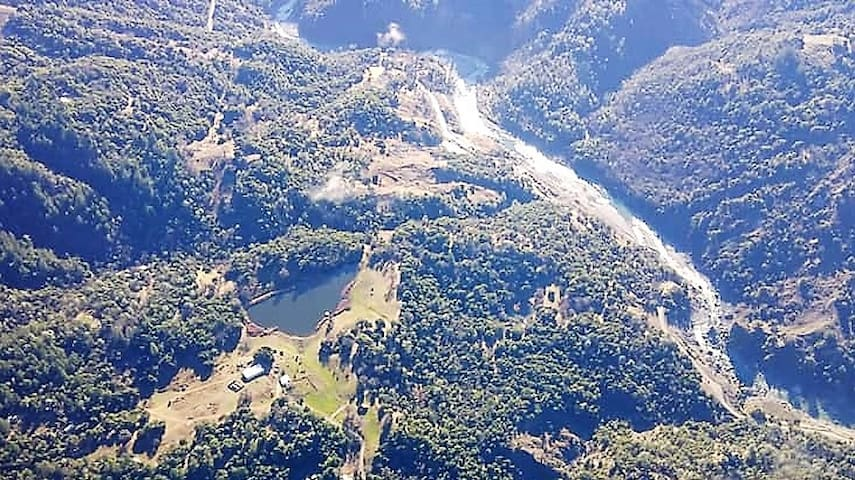 Arial View of Our Lake and Ranch Location. Eel River to the right.