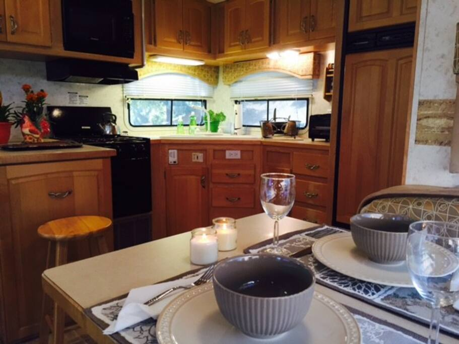 Fully appointed kitchen.