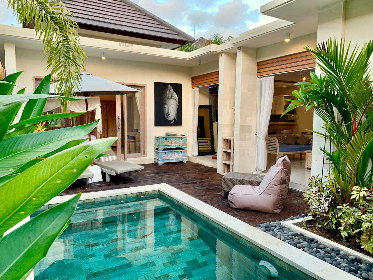 This is from the swimming pool looking into the living area of the villa