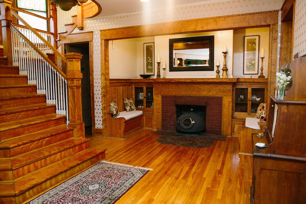 The main entry features original built-ins and amazing woodwork