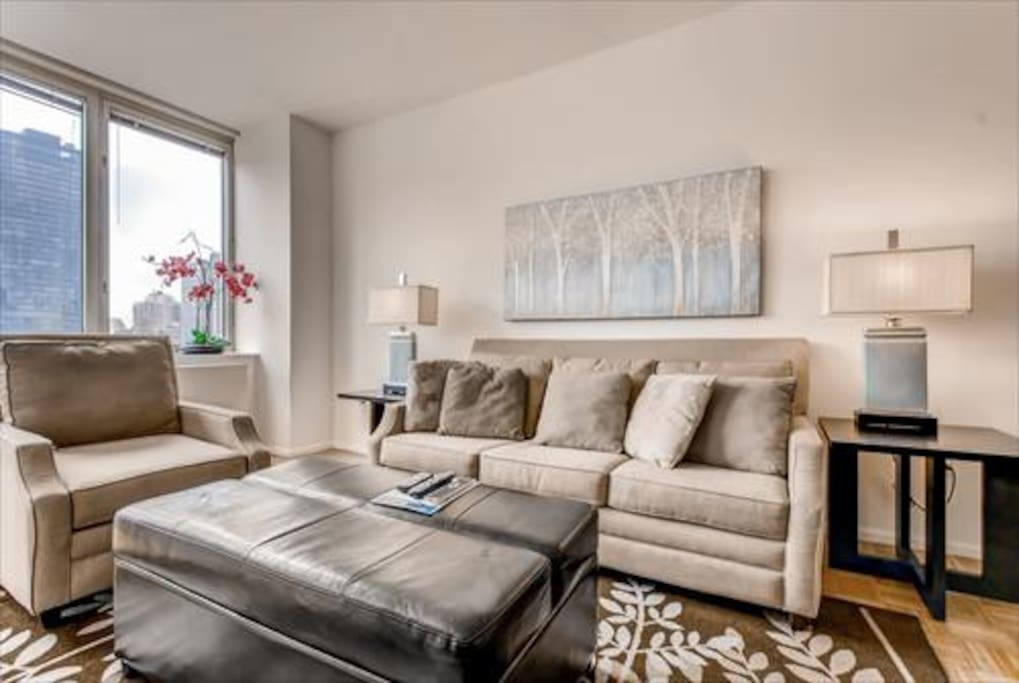 Spacious Living Room with pullout sofa bed as well as large windows to experience the city views