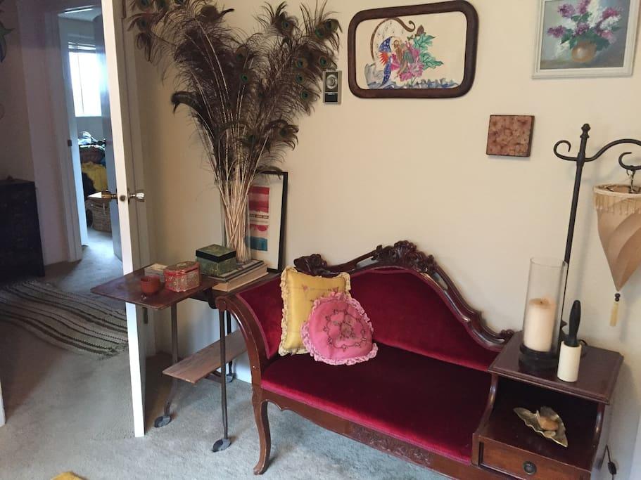 Antique velvet settee