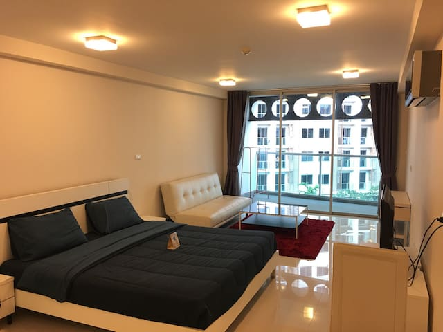 Fully furnished; wardrobe, sofa bed for an extra guest, Plasma TV with cable channel, air conditioner, dining table.