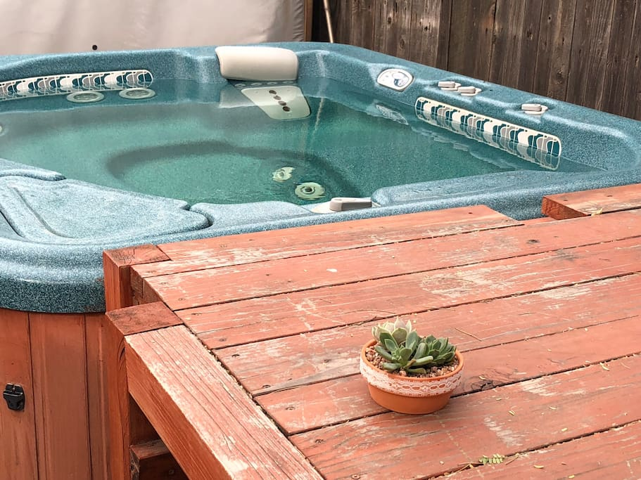 Relax in our enzyme-cleaned hot tub under a beautiful old mesquite tree.