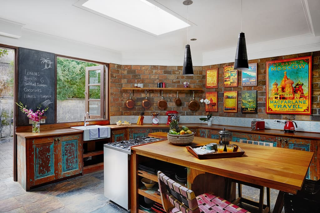 Hand crafted old teak kitchen with cooking island for entertaining.