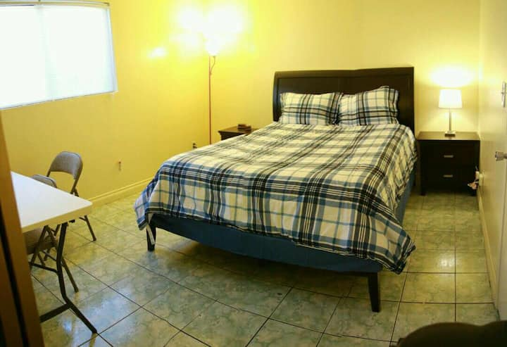 Spacious bedroom + private bathroom & entrance