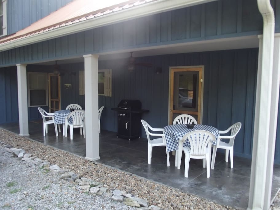 Back porch with gas grill and family dining.