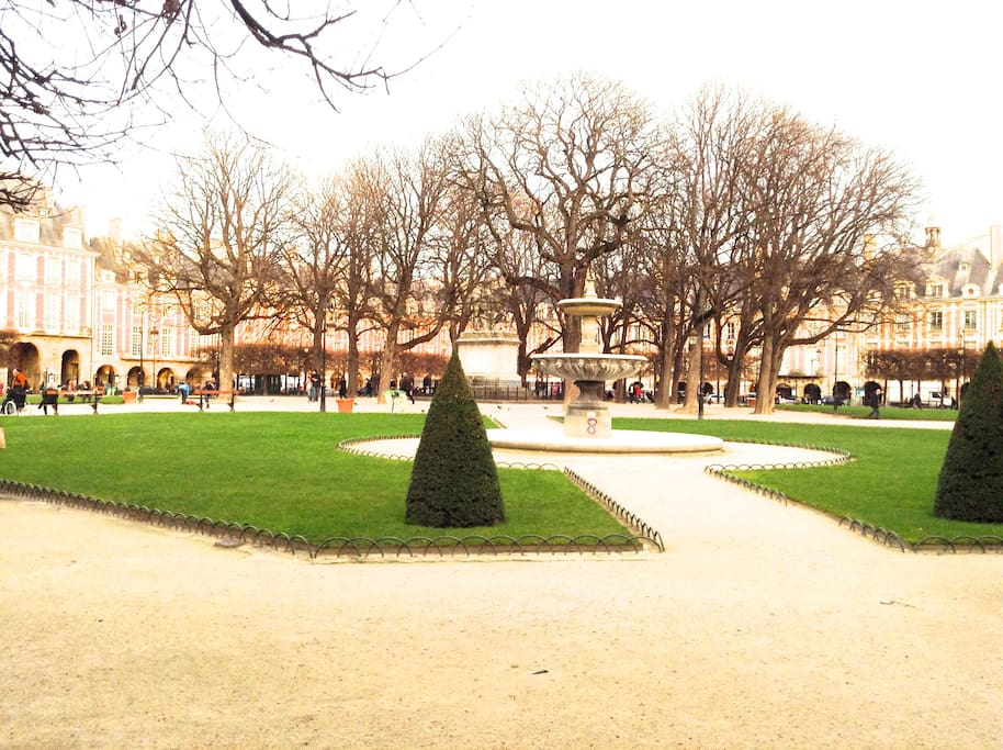 Beautiful Day in the Square of Place des Vosges