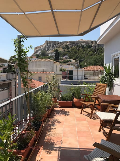 The terrace is spacious, private, full of plants and has a stunning view!