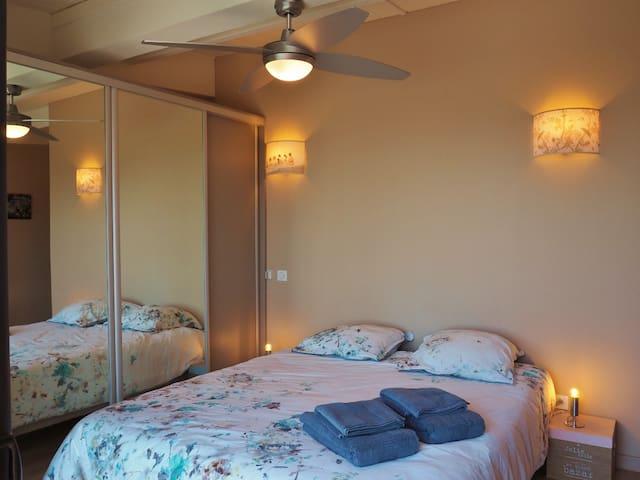 Chambre n° 2 climatisée avec vue piscine et océan