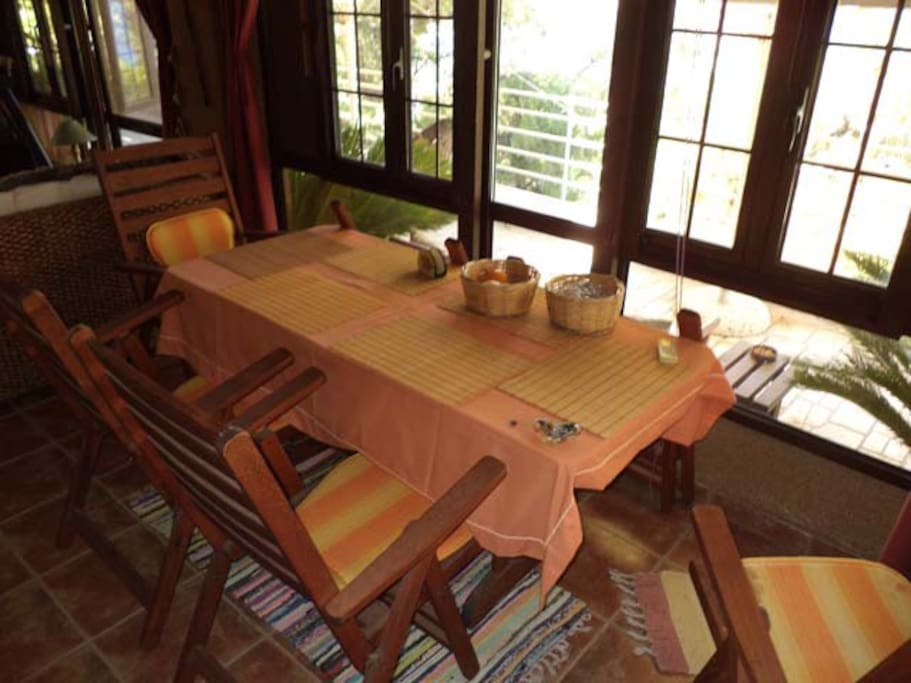 Inside Dining Table (glass room)