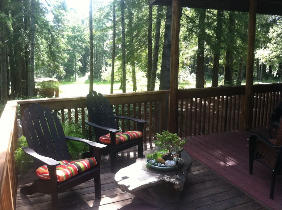 deck look down on a beautiful open  meadow surrounded by a redwood grove. Complete Privacy