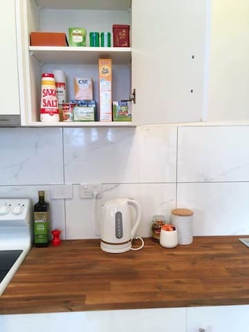 Kitchen with tea & coffee etc