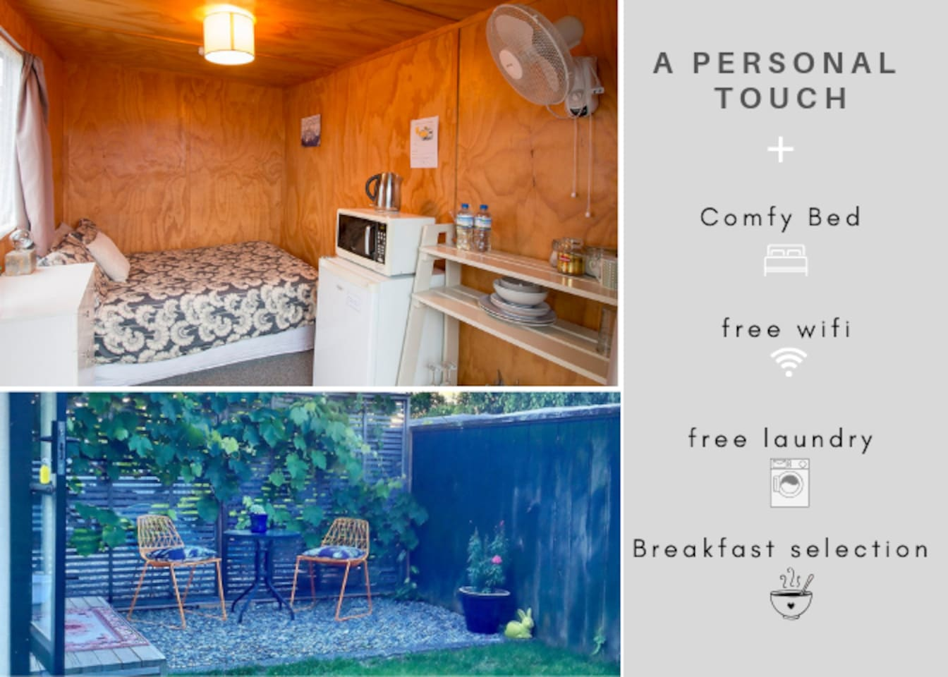 A cabin with a personal touch, comfy bed, free wifi and laundry and a fantastic breakfast selection