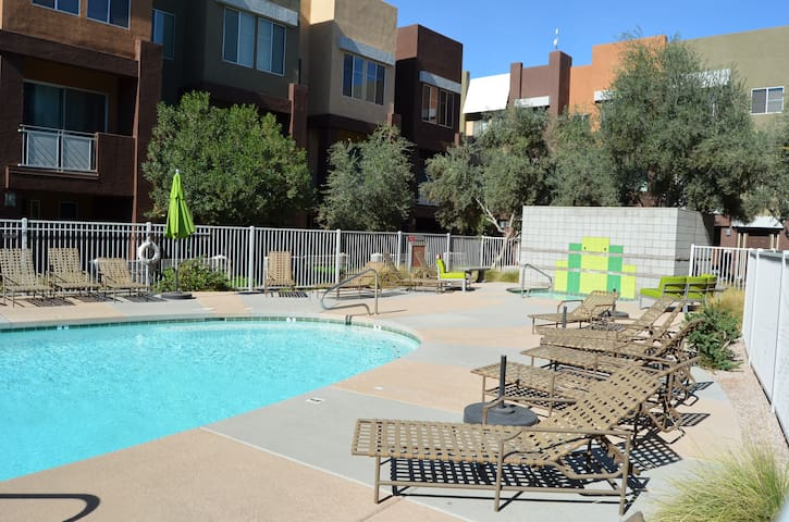 Oasis next to the stadiums! With heated pools!