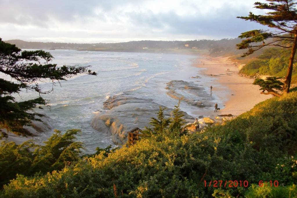 Here is Carmel Bay, 2 miles from the house.  You can walk there!