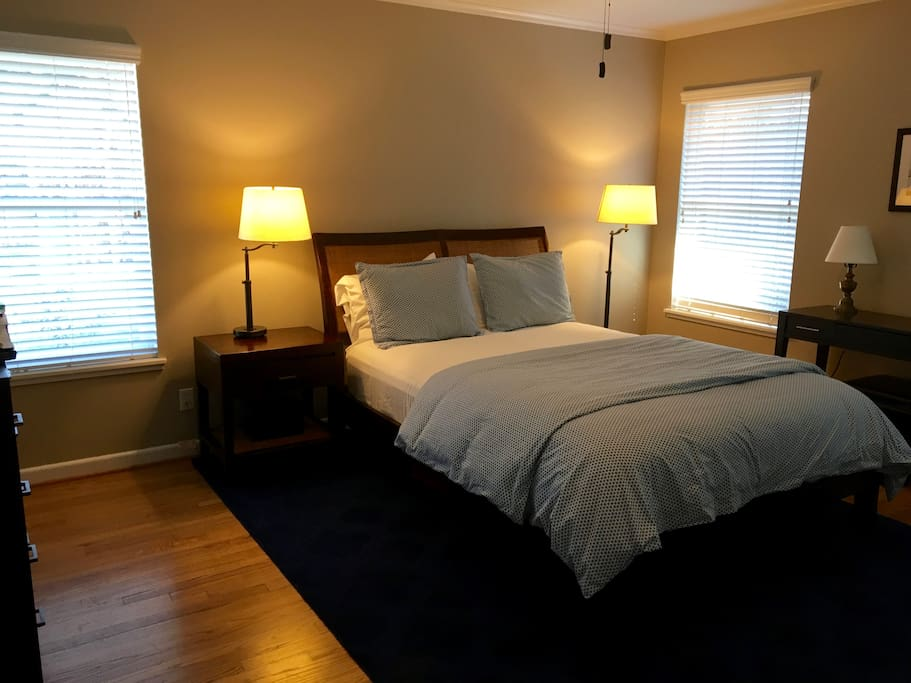 Master bedroom.  Queen-sized bed. Closet and drawer space available.