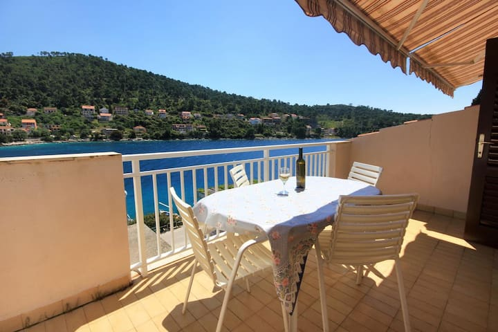 One bedroom apartment with terrace and sea view Brna, Korčula (A-10057-c)